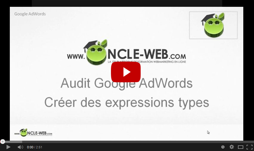 Audit Google AdWords : Créer des expressions types