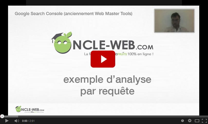 Google Search Console (anciennement Web Master Tools)​ : ​exemple d'analyse par requête
